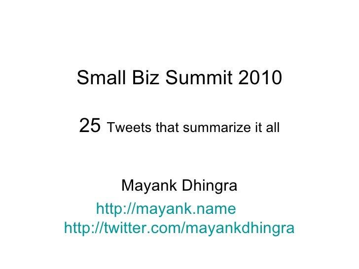 Small Business Summit 2010