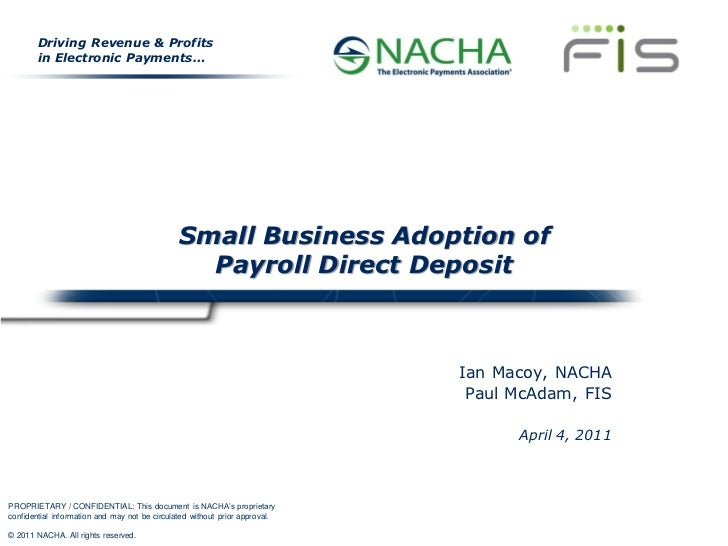 Small Business Adoption of Payroll Direct Deposit