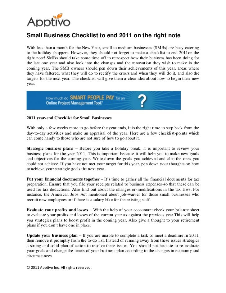Small Business Checklist to end 2011 on the right noteWith less than a month for the New Year, small to medium businesses ...