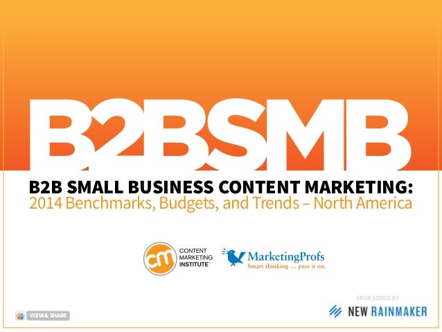 B2B SMALL BUSINESS CONTENT MARKETING: 2014 Benchmarks, Budgets, and Trends – North America SponSored by VIEW & SHARE