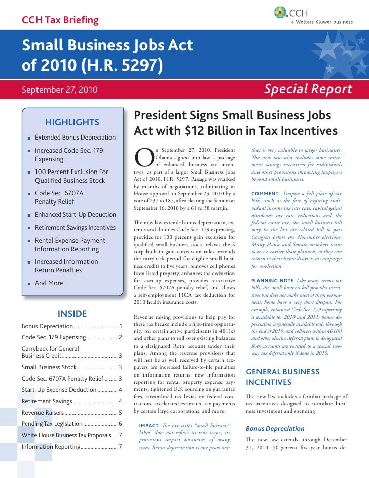 Small Business Jobs Act 7 23 10