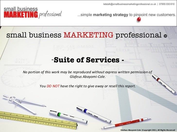 <ul><li>small business  MARKETING  professional     </li></ul><ul><li>Suite of Services - </li></ul><ul><li>No portion of...