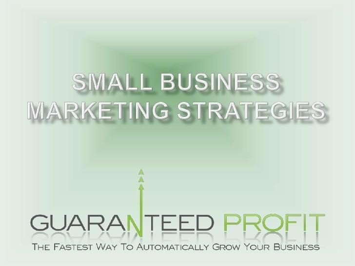 Small Business Marketing Strategies<br />