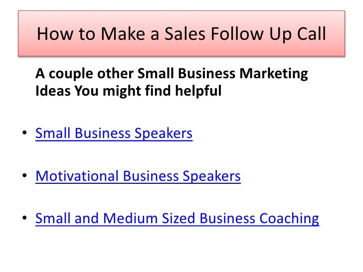 small business marketing tip how to make a sales follow up