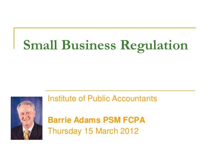 Small businessregulationipa15 03_12webinarbea