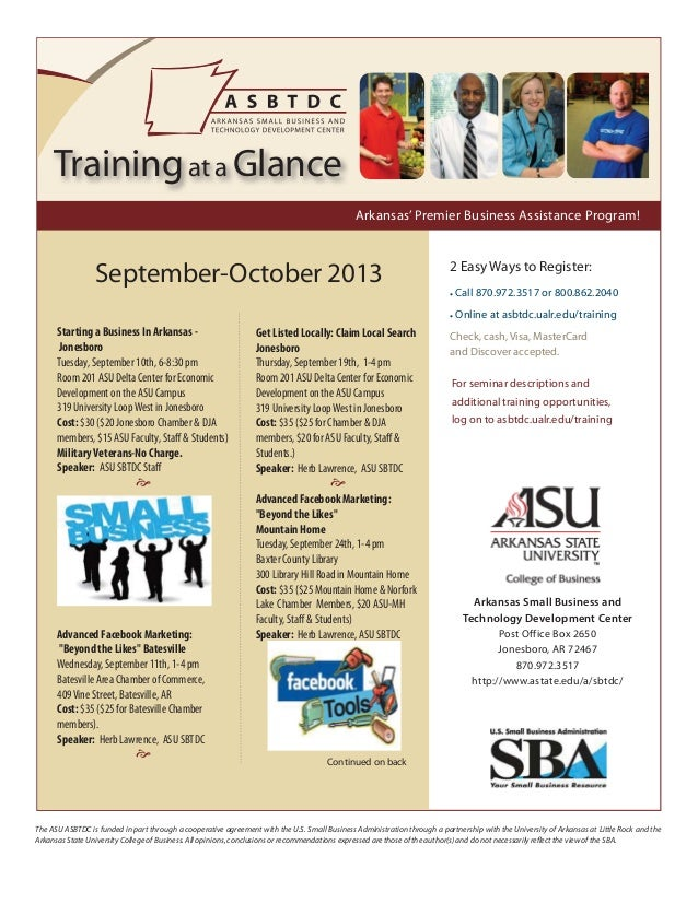 September-October Small Business Workshop Calendar