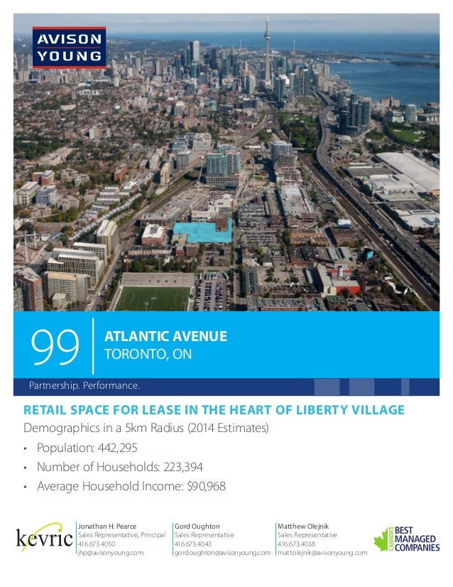 99  ATLANTIC AVENUE TORONTO, ON  Partnership. Performance.  RETAIL SPACE FOR LEASE IN THE HEART OF LIBERTY VILLAGE Demogra...