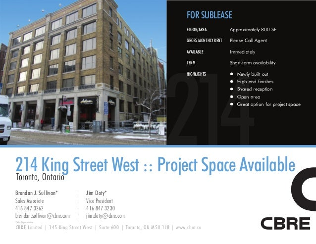 FOR SUBLEASE                                                                            FLOOR/AREA           Approximately...