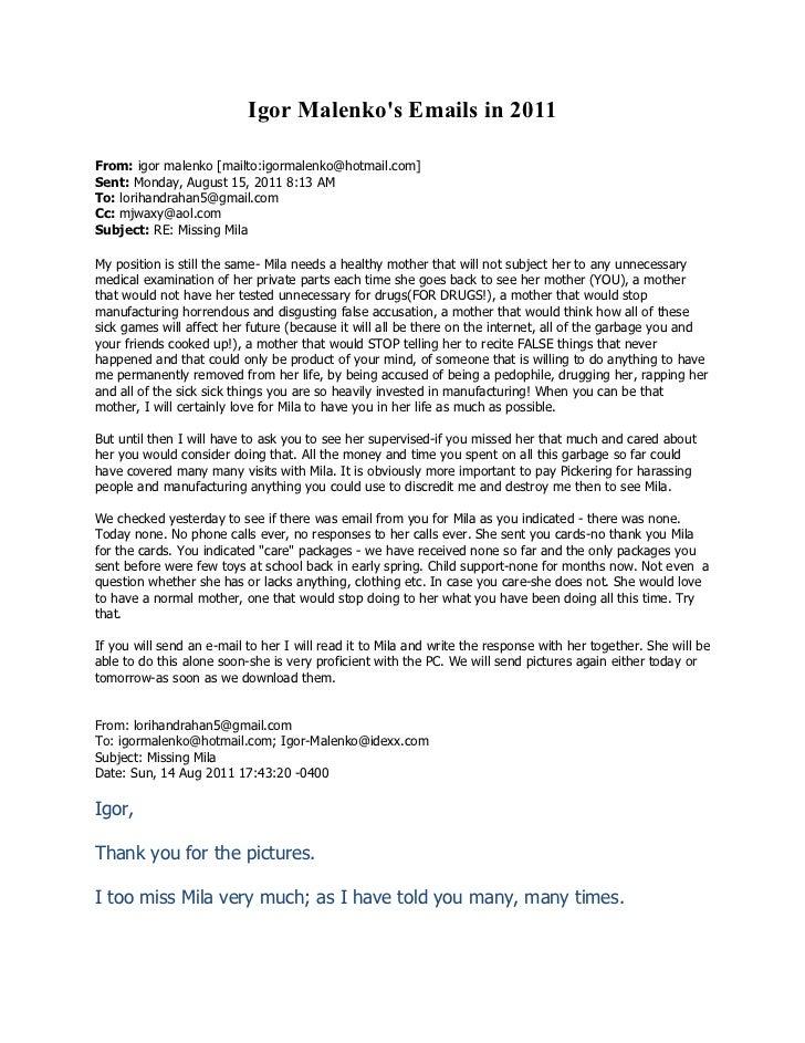 Igor Malenkos Emails in 2011From: igor malenko [mailto:igormalenko@hotmail.com]Sent: Monday, August 15, 2011 8:13 AMTo: lo...