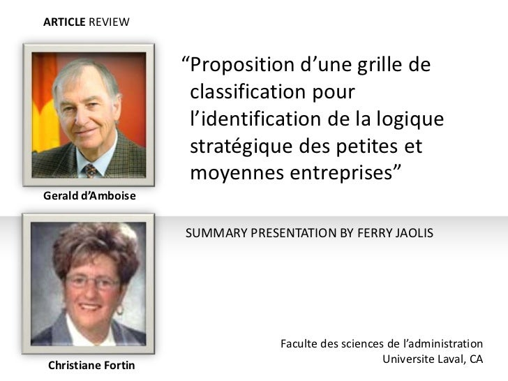 """ARTICLE REVIEW                    """"Proposition d'une grille de                     classification pour                    ..."""