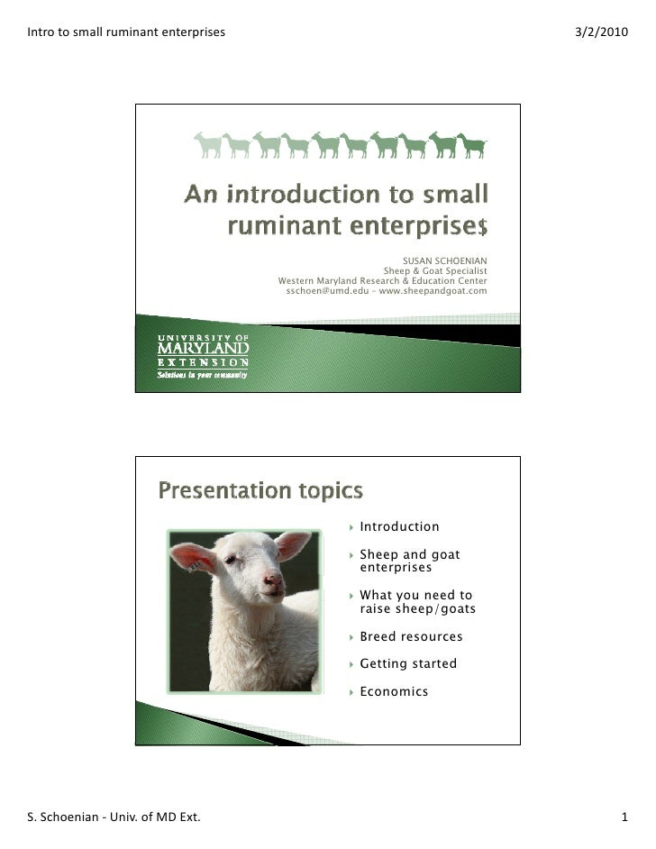 Intro to small ruminant enterprises