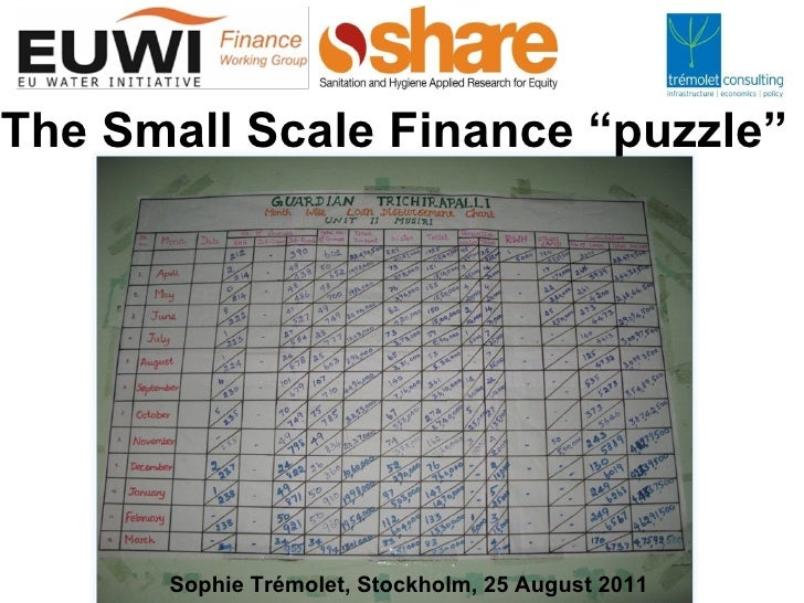 Small-scale finance for water and sanitation: World Water Week 2011 - Sophie Trémolet
