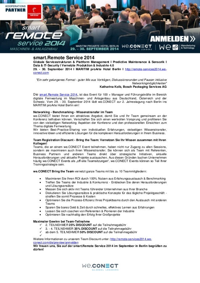 smart.Remote Service 2014 Globale Servicestrukturen & Plattform Management I Predictive Maintenance & Sensorik I Data & IT...