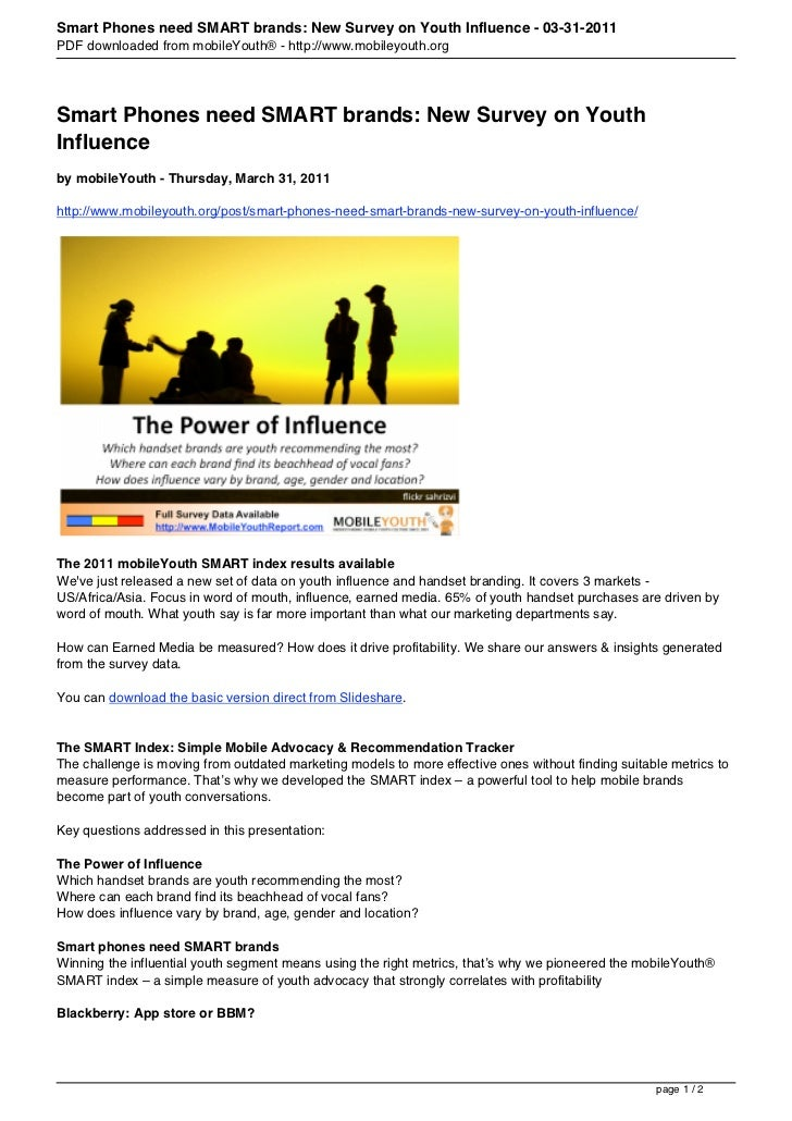 Smart Phones need SMART brands: New Survey on Youth Influence - 03-31-2011PDF downloaded from mobileYouth® - http://www.mo...