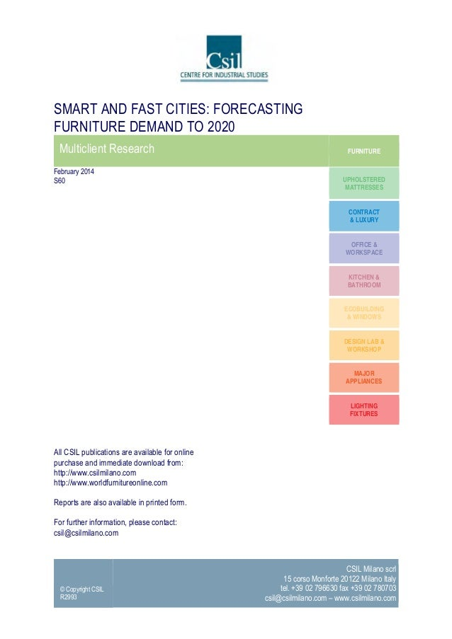 Smart and fast cities. Forecasting Furniture demand to 2020 - Market Research by CSIL