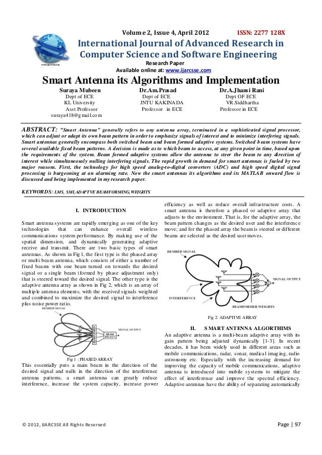 Smart antenna algorithm and application