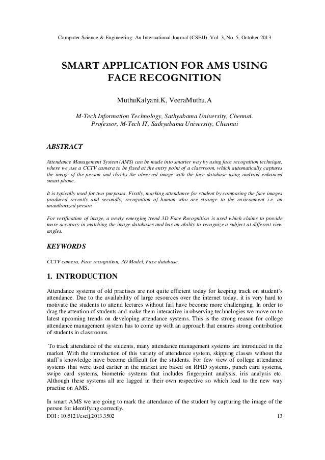 Computer Science & Engineering: An International Journal (CSEIJ), Vol. 3, No. 5, October 2013  SMART APPLICATION FOR AMS U...