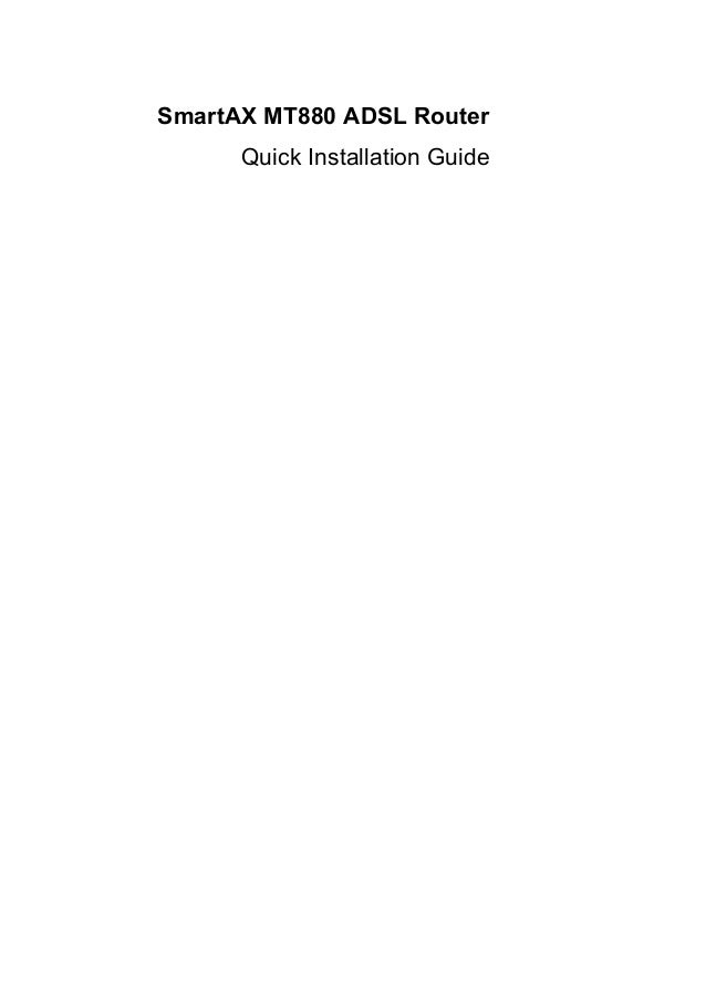 Smartax mt880 adsl router quick installation guide