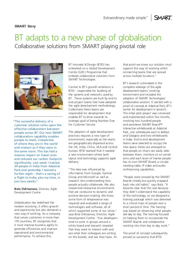 SMART Story  BT adapts to a new phase of globalisation Collaborative solutions from SMART playing pivotal role BT Innovate...