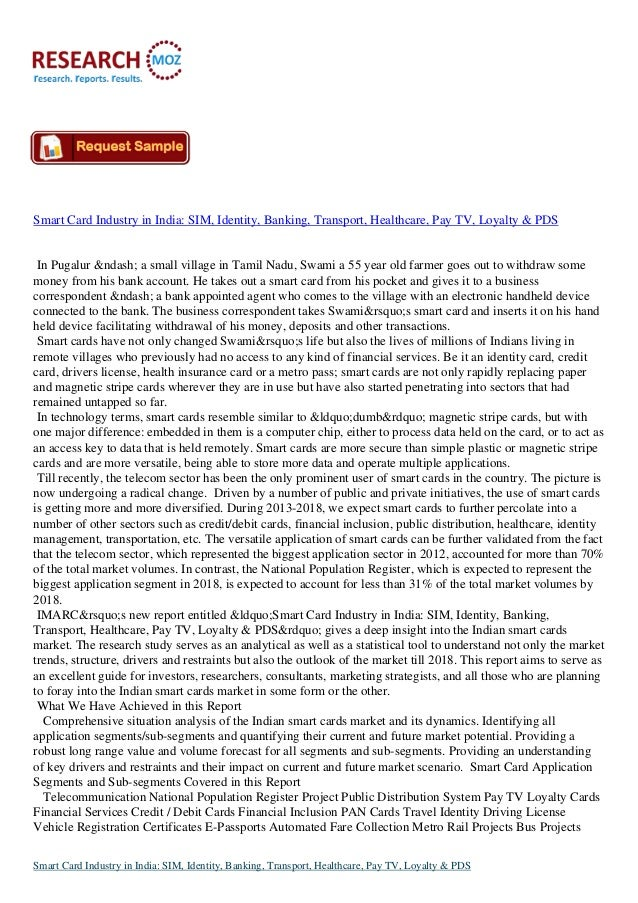 Smart Card Industry in India: SIM, Identity, Banking, Transport, Healthcare, Pay TV, Loyalty & PDSIn Pugalur – a sma...