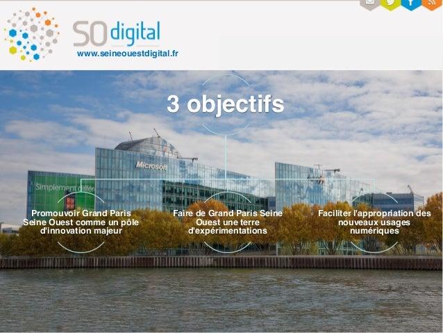 3 objectifs Promouvoir Grand Paris Seine Ouest comme un pôle d'innovation majeur Faire de Grand Paris Seine Ouest une terr...