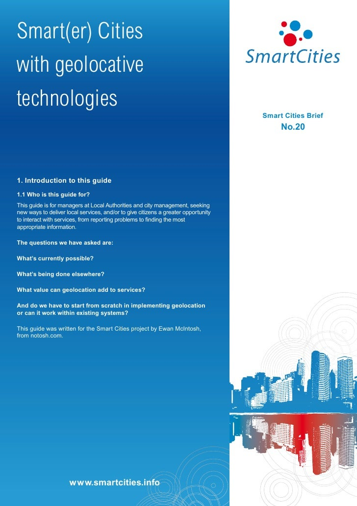 Smart Cities - Smart(er) cities with geolocative technologies