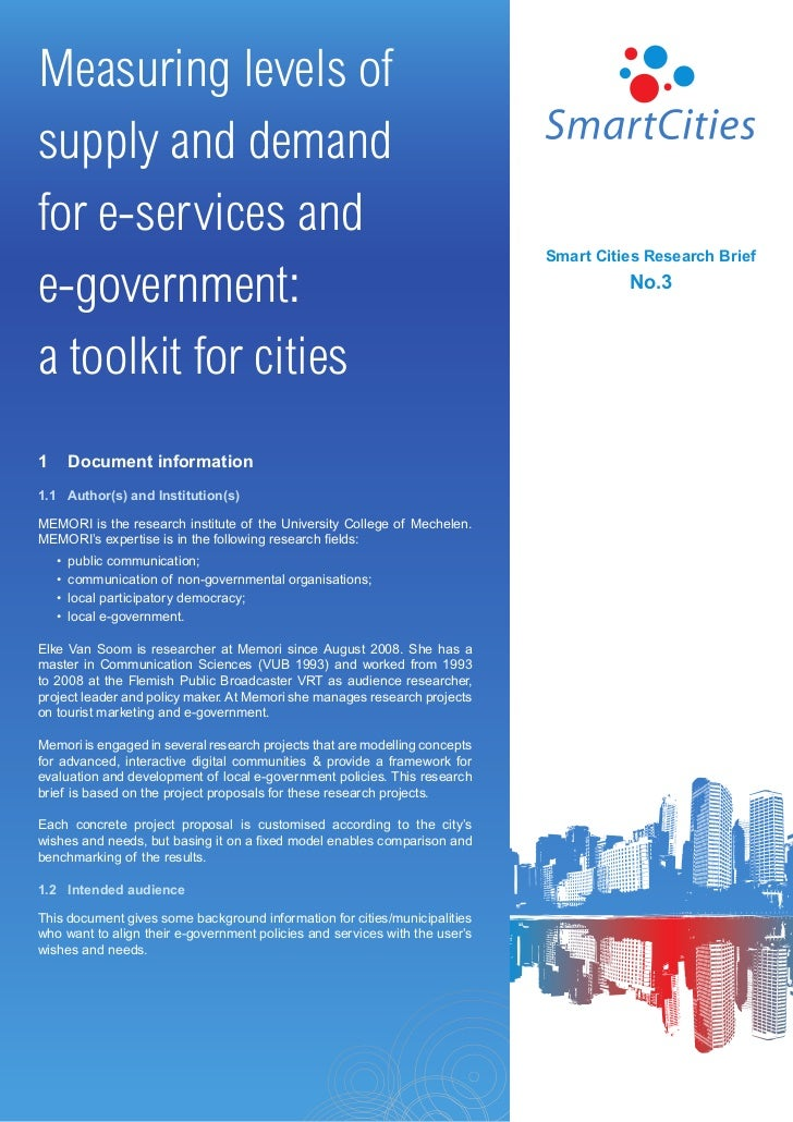 Smart Cities - Measuring levels of supply and demand for e-services and e-government: a toolkit for cities