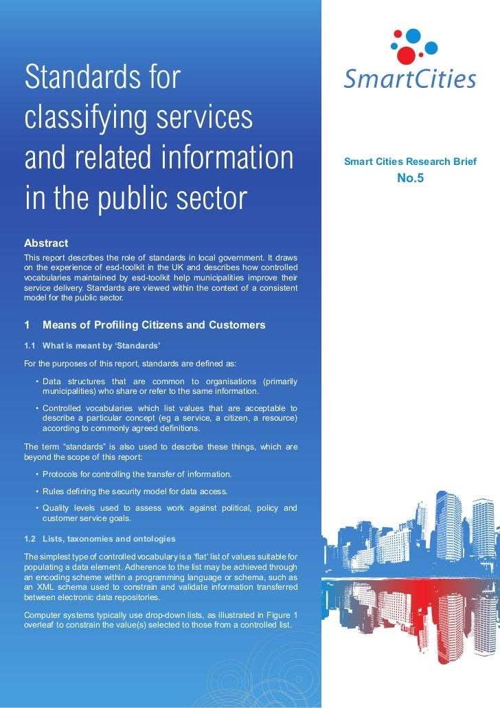 Smart Cities - Standards for classifying services and related information in the public sector
