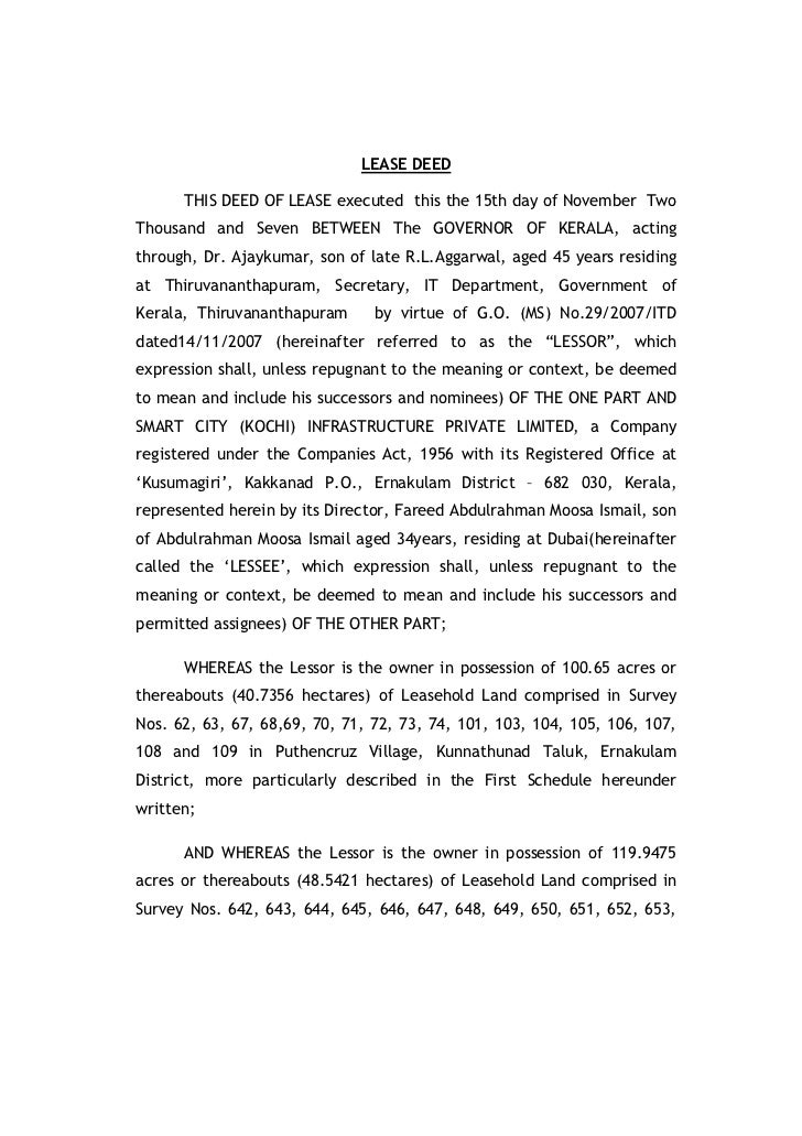 LEASE DEED      THIS DEED OF LEASE executed this the 15th day of November TwoThousand and Seven BETWEEN The GOVERNOR OF KE...