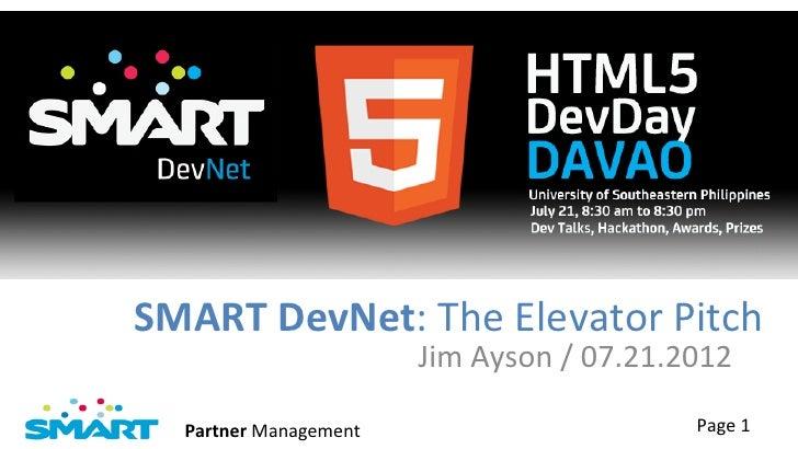 SMART DevNet: The Elevator Pitch
