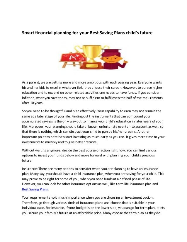 Smart Financial Planning For Your Best Saving Plans Child