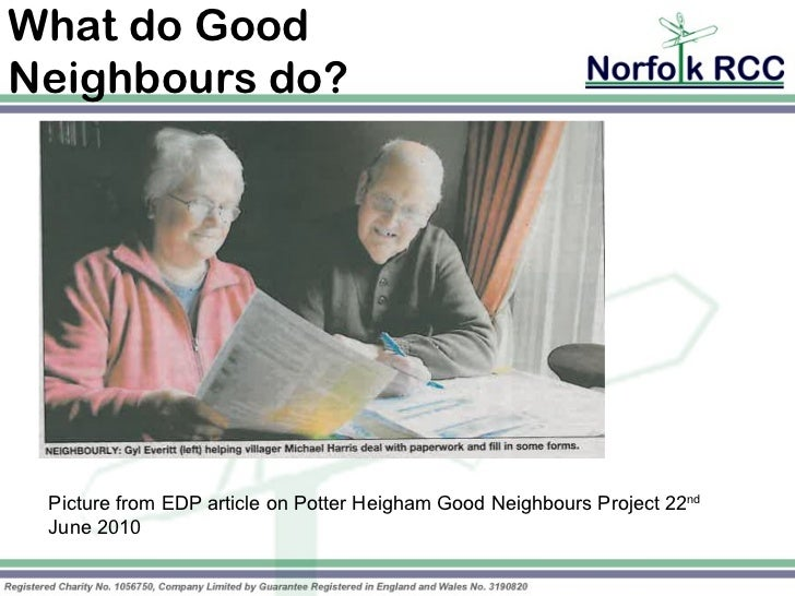 What do GoodNeighbours do? Picture from EDP article on Potter Heigham Good Neighbours Project 22nd June 2010