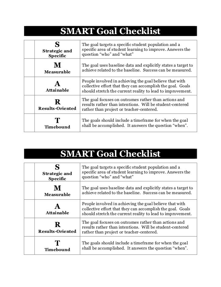 SMART Goal Checklist       S           The goal targets a specific student population and a Strategic and     specific are...