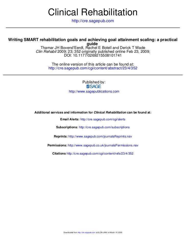 Clinical Rehabilitation                                          http://cre.sagepub.comWriting SMART rehabilitation goals ...
