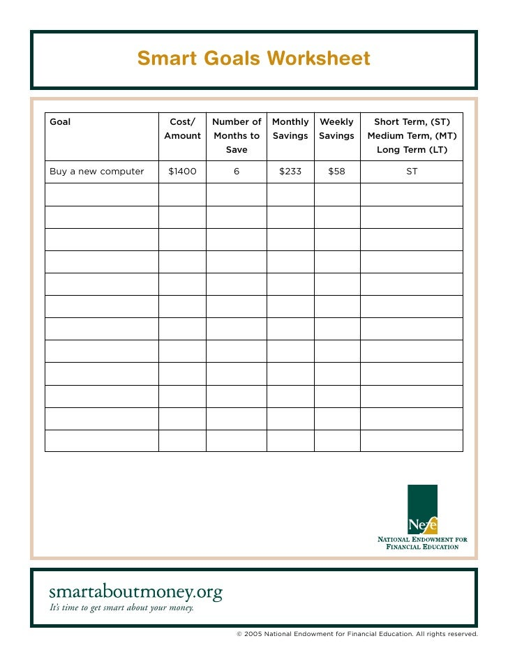 Outline Sample Goals Worksheet In Addition Worksheet Using Capital ...