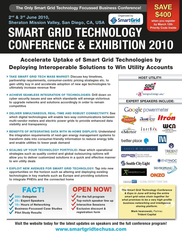 The Only Smart Grid Technology Focussed Business Conference!                                       SaVE  2nd & 3rd June 20...