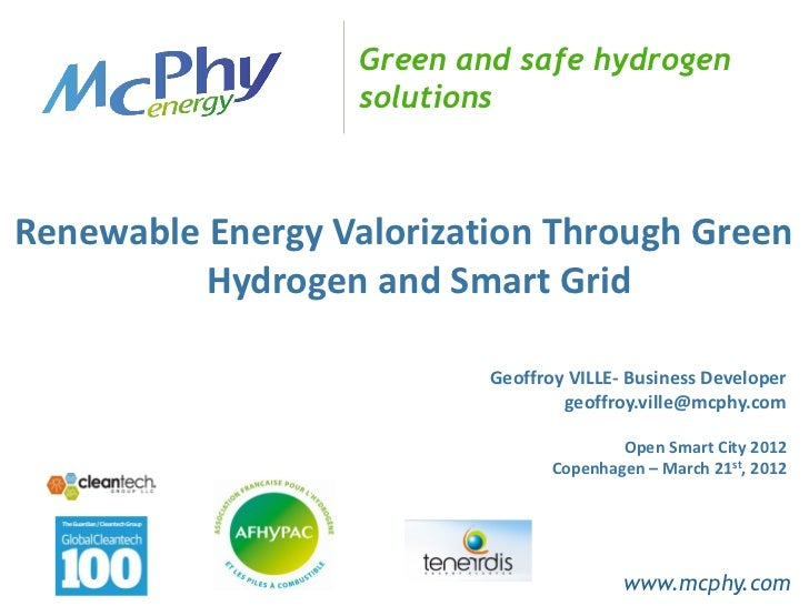 Green and safe hydrogen                   solutionsRenewable Energy Valorization Through Green          Hydrogen and Smart...