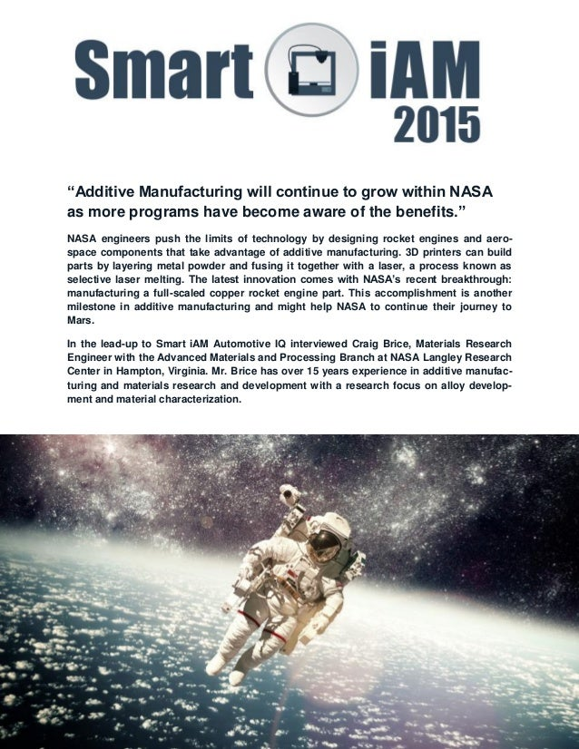 Nasa on the advantages of additive manufacturing for Nasa additive manufacturing