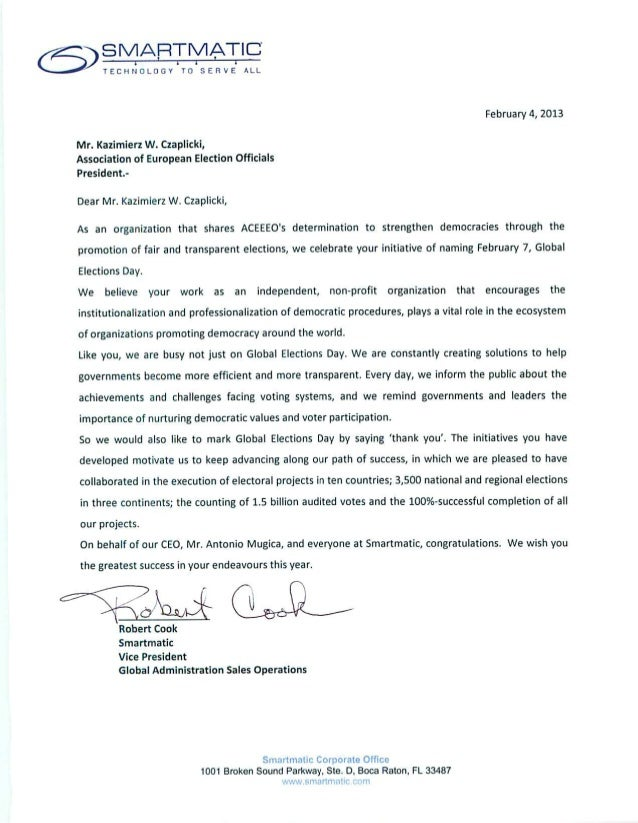 Smartmatic Global Elecions Day Letter to ACEEEO