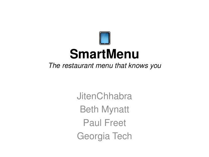 Smart menu lecture 8 resources