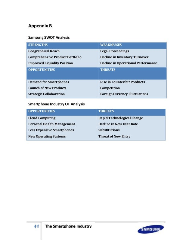 swot analysis of samsung A swot analysis of samsung- authorstream presentation samsung swot ppts priyankaheda download let swot analysis: swot analysis swot analysis is a strategic planning method used to evaluate the strengths.
