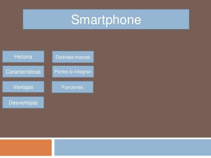 Smartphone   Historia       Distintas marcasCaracterísticas   Partes lo integran   Ventajas          Funciones Desventajas