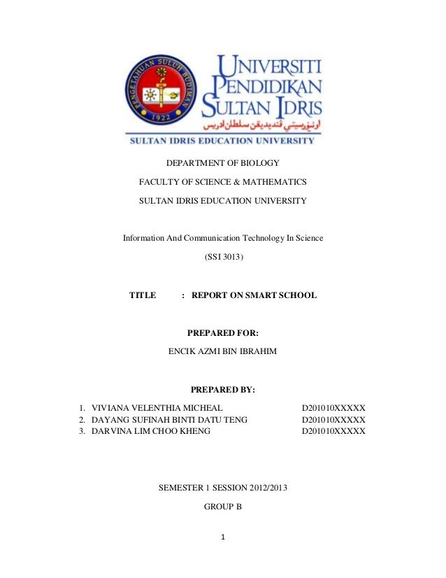 DEPARTMENT OF BIOLOGY            FACULTY OF SCIENCE & MATHEMATICS            SULTAN IDRIS EDUCATION UNIVERSITY        Info...