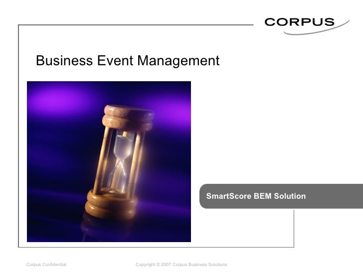 SmartScore BEM Solution Copyright © 2007 Corpus Business Solutions Business Event Management