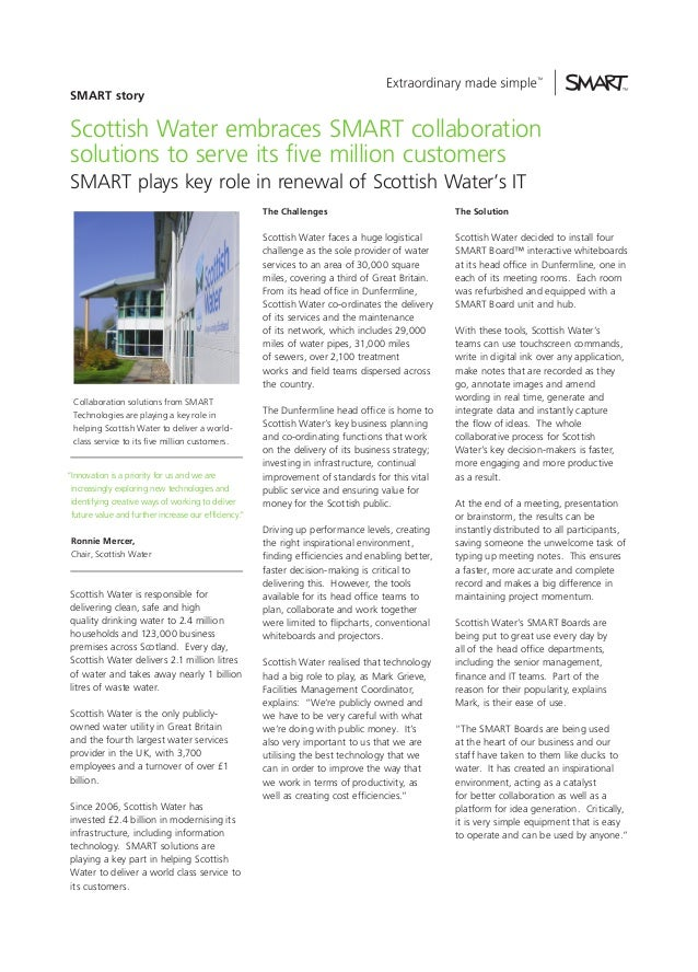 SMART story  Scottish Water embraces SMART collaboration solutions to serve its five million customers SMART plays key rol...