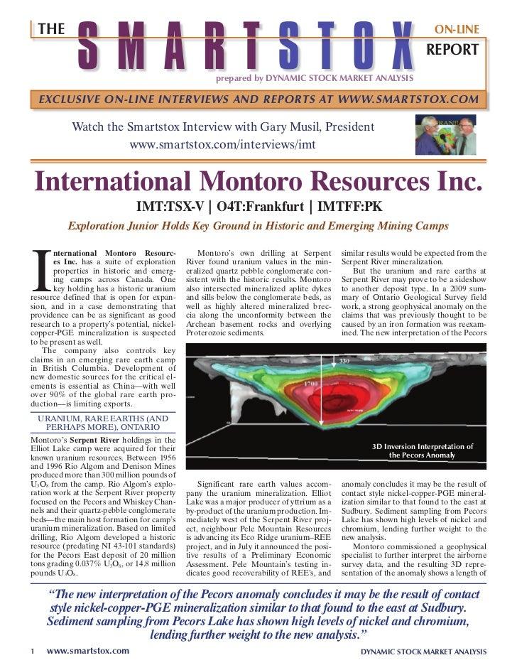 SmartStox: International Montoro Resources Update
