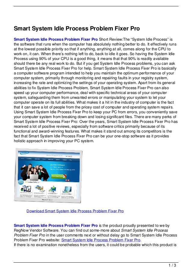 Smart system idle process problem fixer pro
