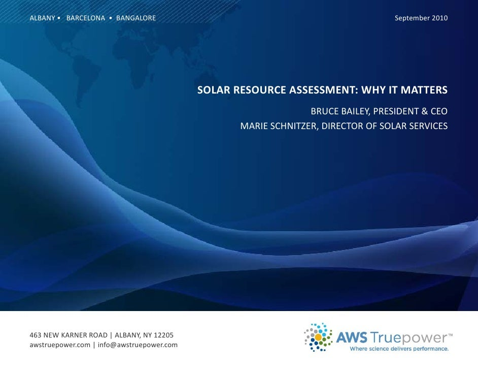 Solar Resource Assessment: Why it Matters