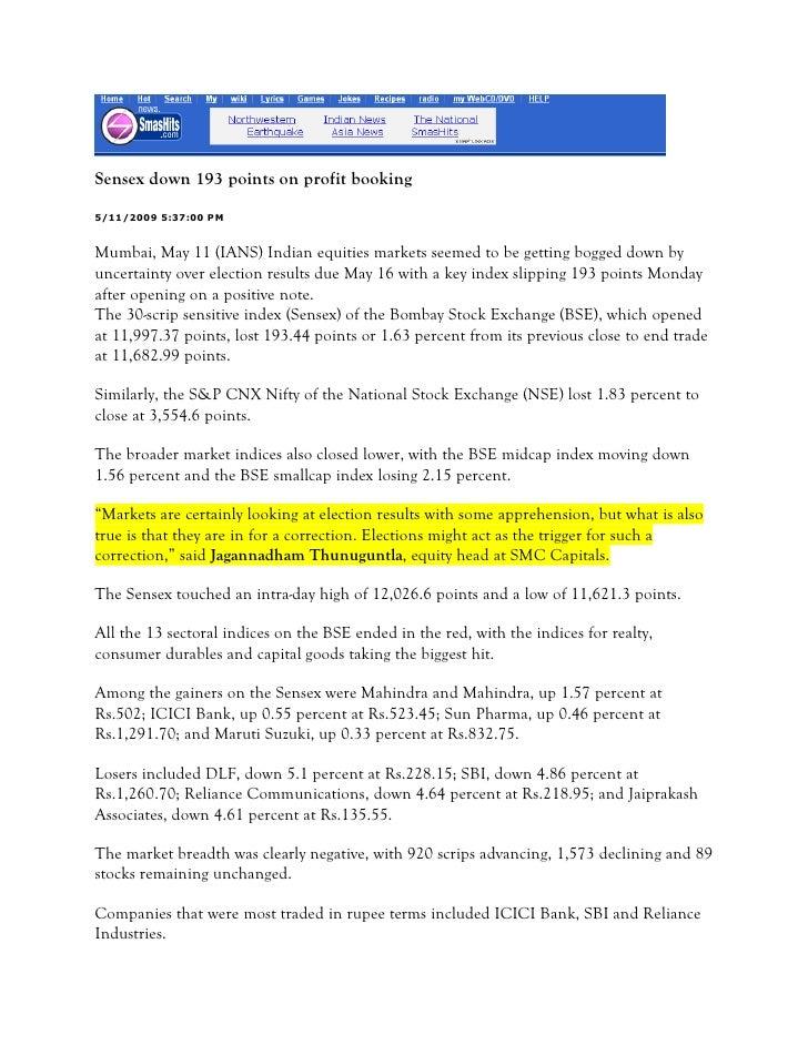 Smas Hits May 11, 2009 Sensex Down 193 Points On Profit Booking