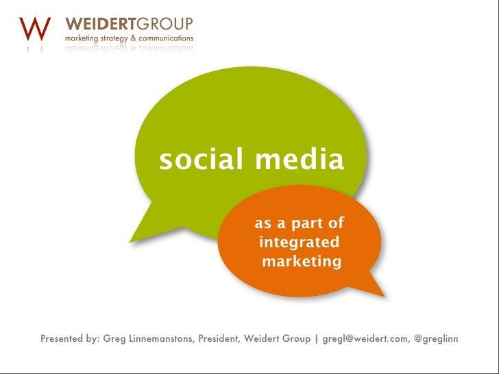 Greg Linnemanstons, Weidert Group, Social Media as a Part of Integrated Marketing
